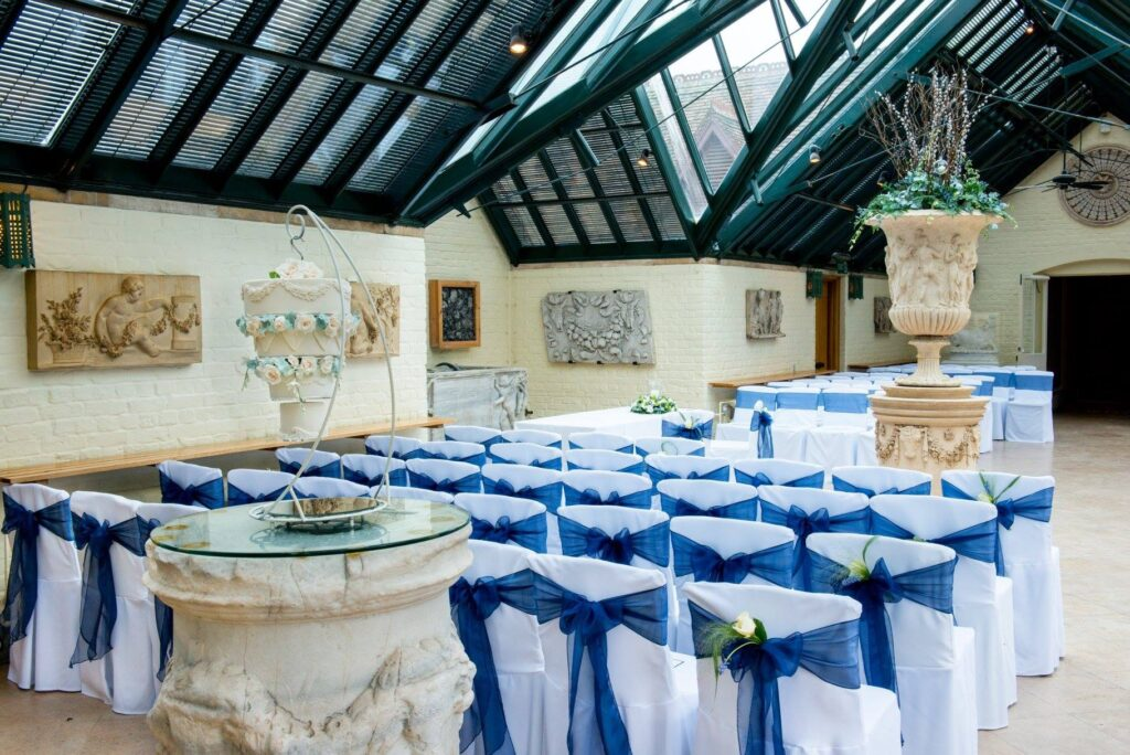 Blue and white wedding colour scheme at The Dairy Waddesdon