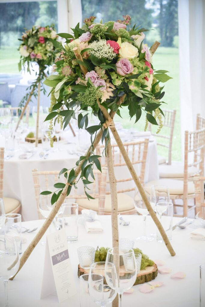 Rustic Tripod Wedding flower table centrepiece.