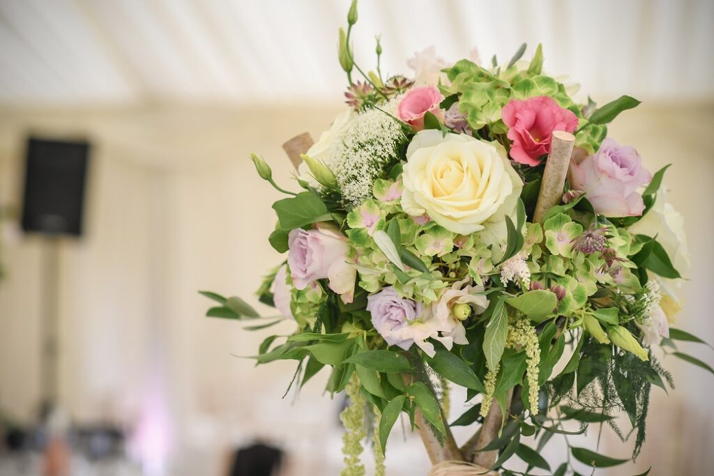 Close up of rustic floral centrepiece