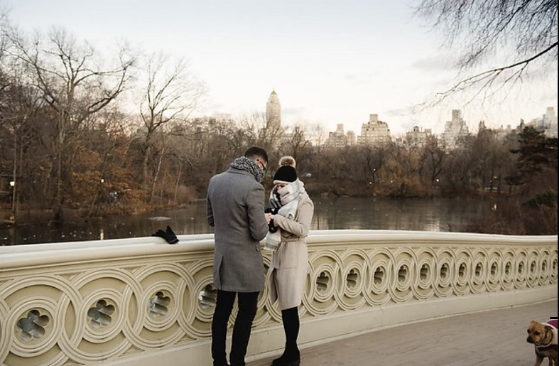 Bernadette and Aaron getting engaged in Central Park NYC