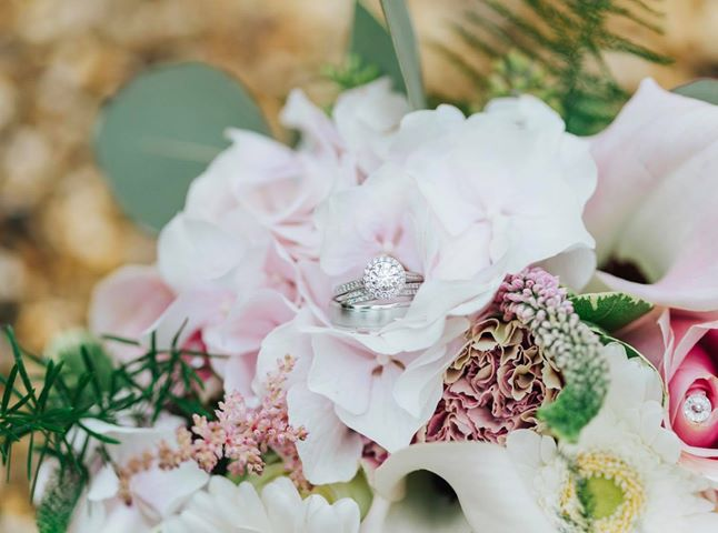 Wedding Rings in Brides Bouquet