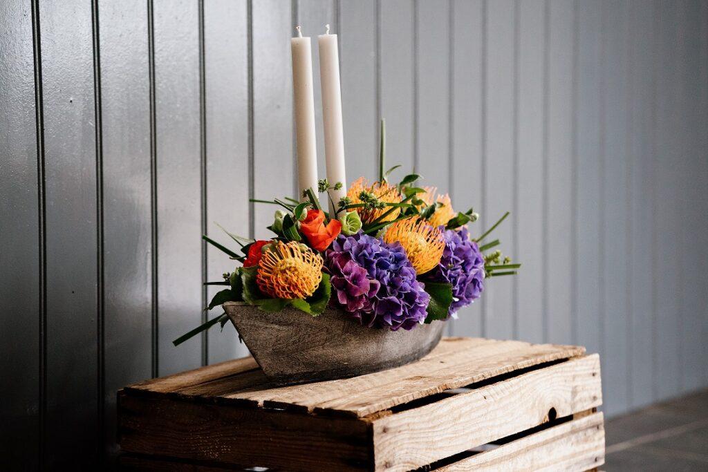 Floral Candle Planter Centrepiece