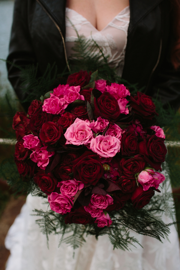 Large red and pink rose bridal bouquet.