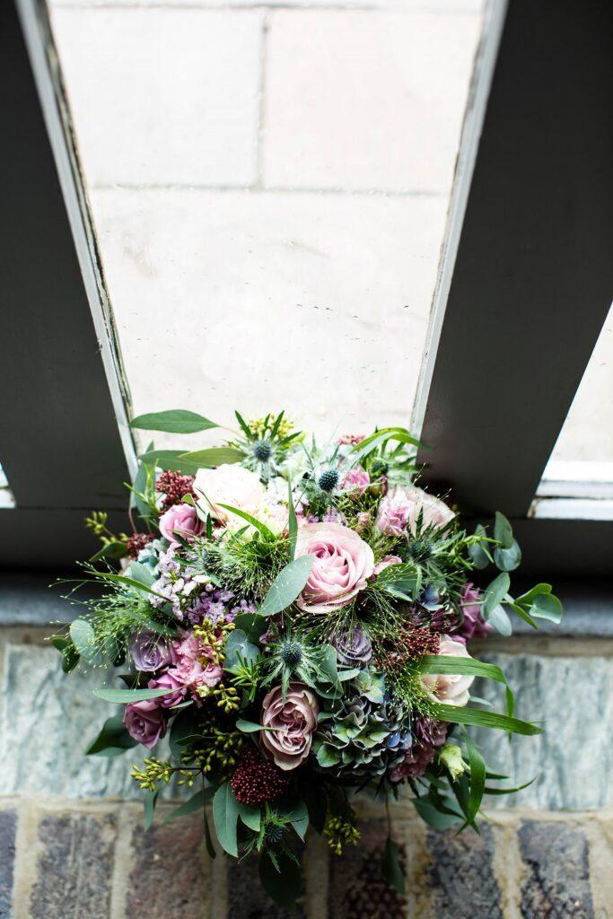 Pretty pink and mauve bridal bouquet.