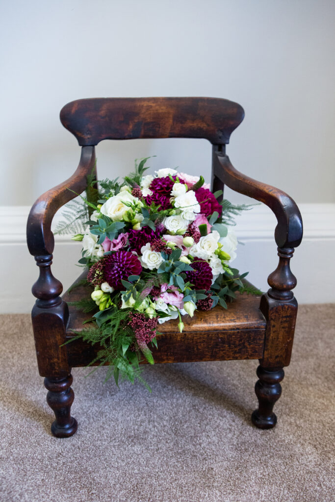 Shower Bridal Bouquet on wooden chair