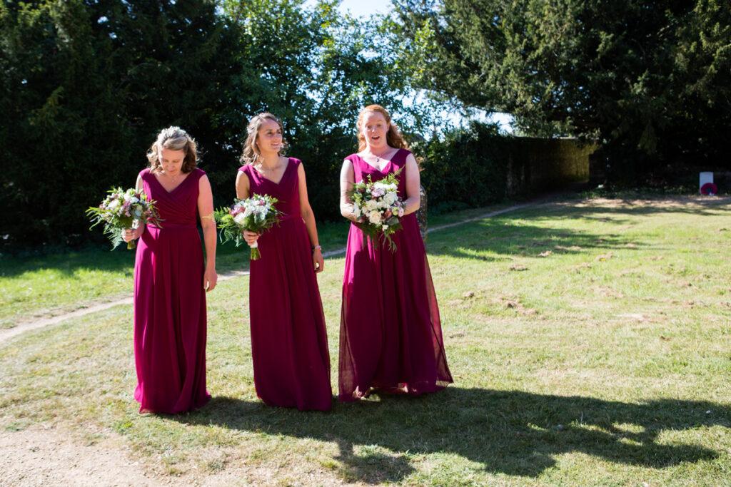 Bridesmaids in Burgundy Dresses