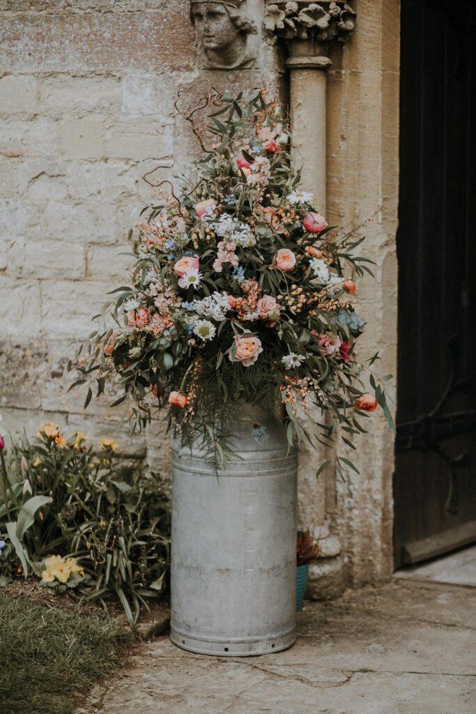 Milk Churn Church Wedding Flowers