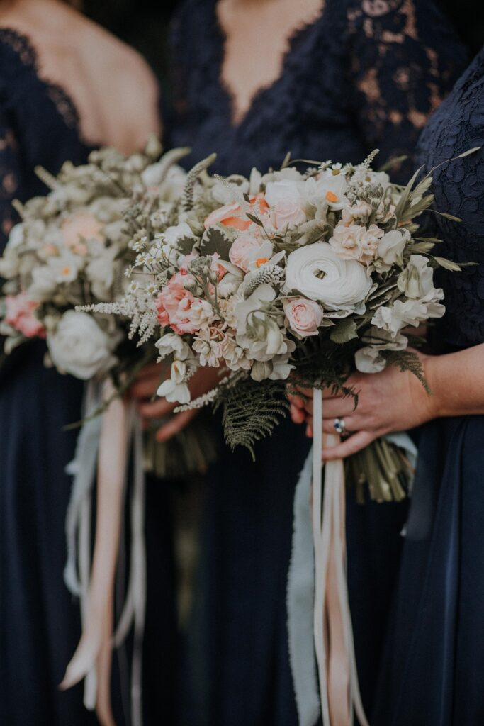 Close up bridesmaid bouquet.
