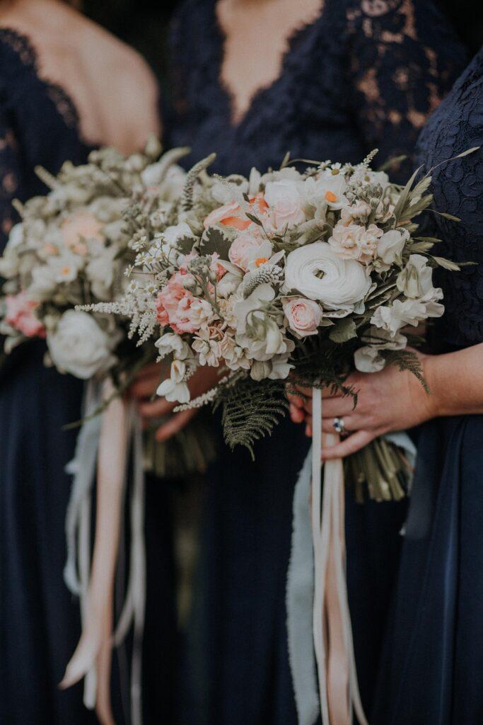 Close up bridesmaid bouquet.