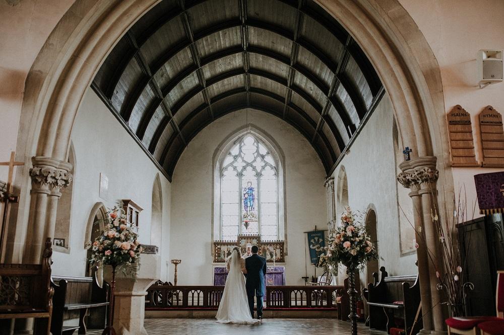 Wedding ceremony in church.