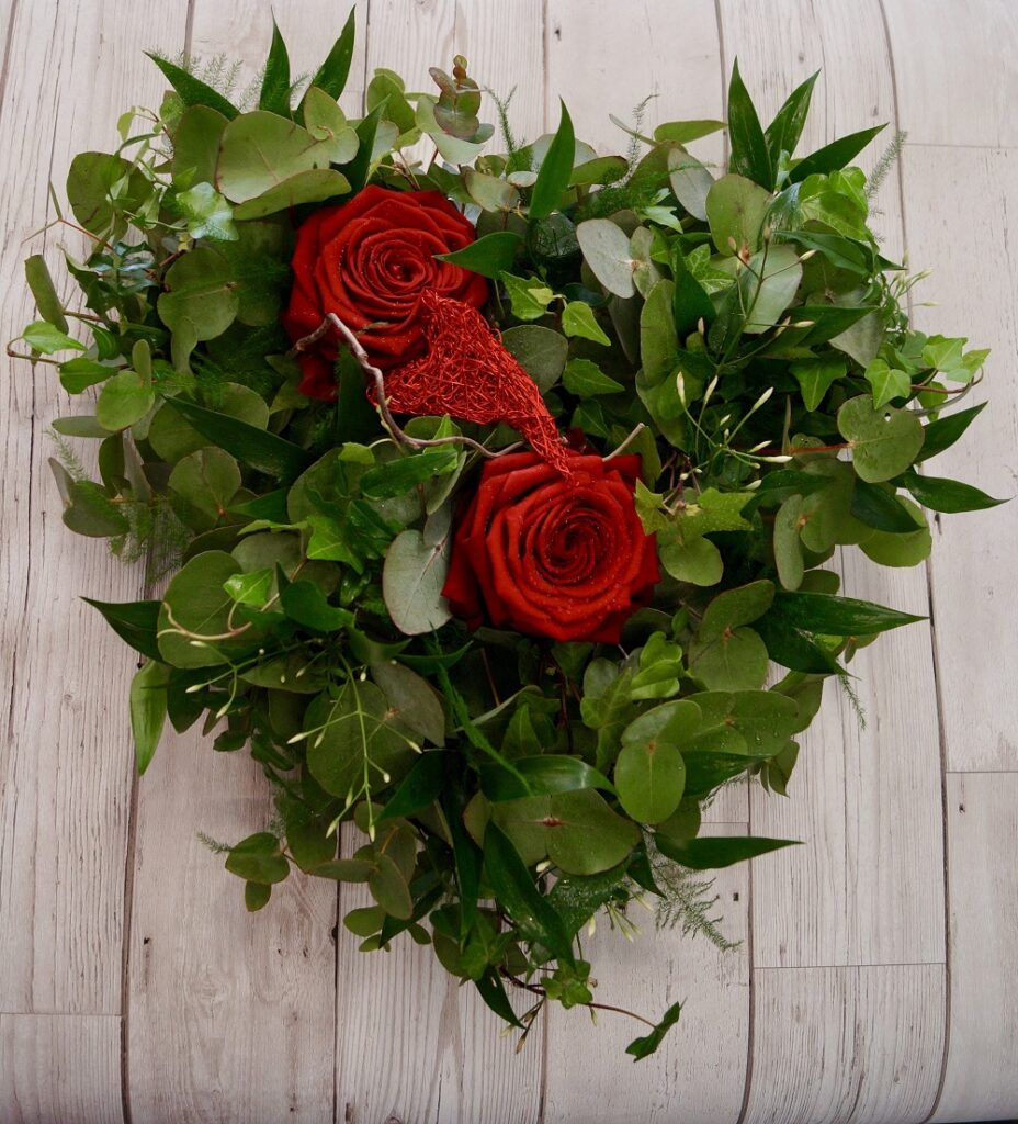 Bespoke heart shaped funeral wreath